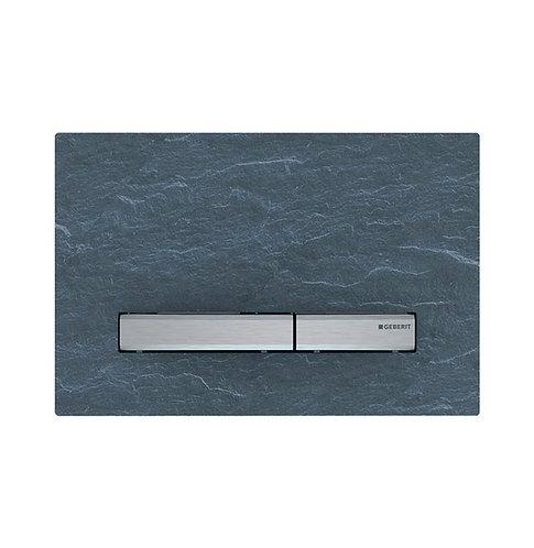 GEBERIT Sigma 50 Mustang Slate & Chrome Rectangular Button Flush Plate