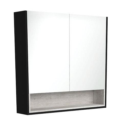 900 Matte Black Undershelf Mirror Cabinet, Industrial Insert
