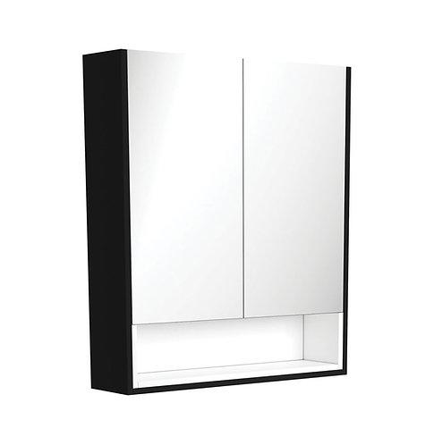 750 Matte Black Undershelf Mirror Cabinet, Matte White Insert
