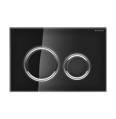 GEBERIT Sigma 21 Black & Chrome Round Button Flush Plate