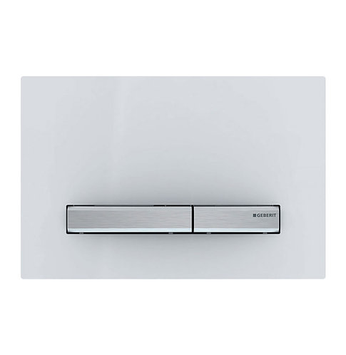 GEBERIT Sigma 50 White & Chrome Rectangular Button Flush Plate