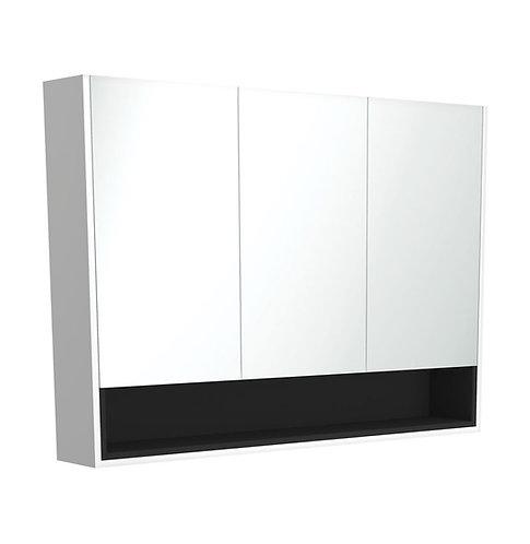 1200 Matte White Undershelf Mirror Cabinet, Matte Black Insert