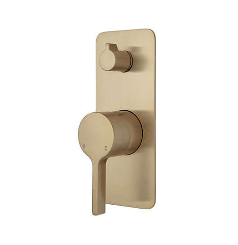 SANSA Wall Diverter Mixer, Urban Brass, Soft Square Plate