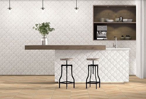 Embossed Feature Walls Scale Shell White Matt