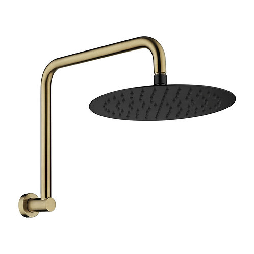 KAYA Gooseneck Shower Arm Set, Urban Brass, Matte Black Head