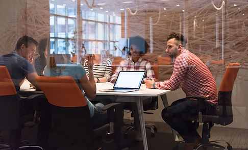 Multiethnic startup business team on mee
