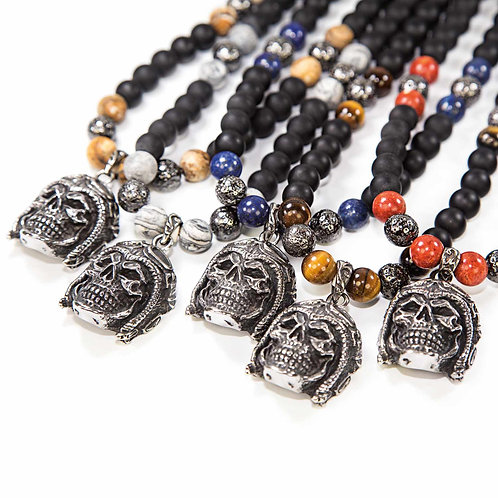 Skull Rider - Biker Skull Gemstone Necklace