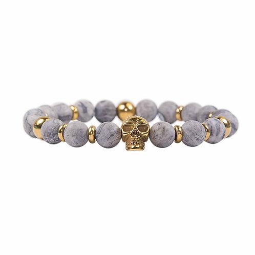 Macawi - modern Jasper beaded skull bracelet stainless steel gold