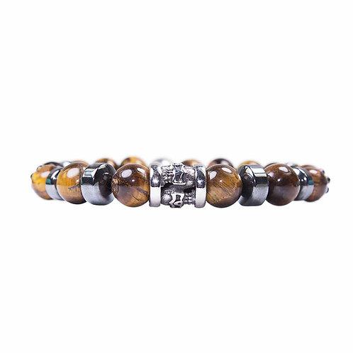 Totem - Tiger eye skull beaded bracelet