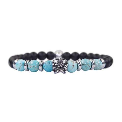Maori - Türkis Totenkopf Perlenarmband - Kombiarmband