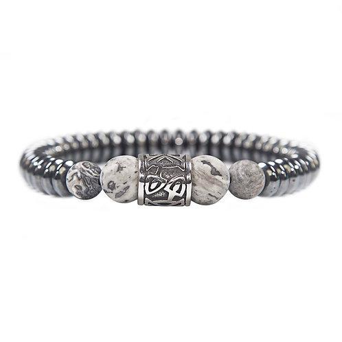 Kehala Giant grey - elegant modern gemstone bracelet, Jasper