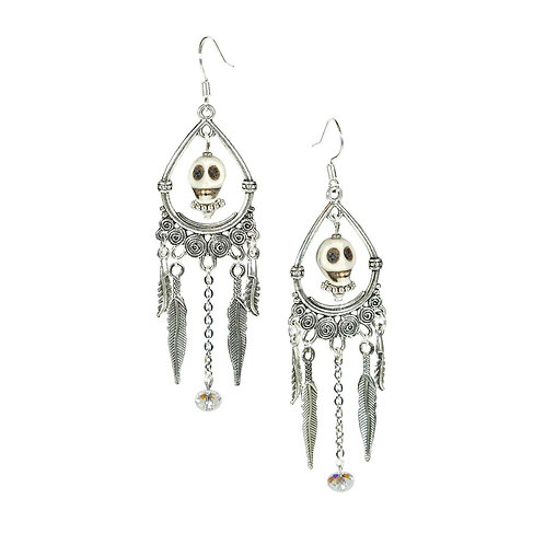 Taini - Modern Boho Hippie Skull Earrings