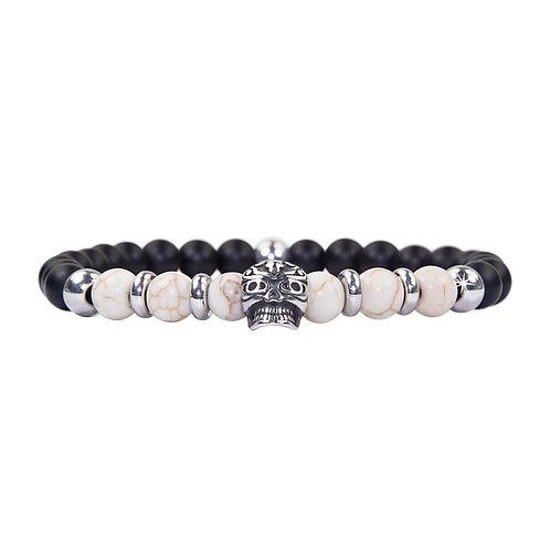 Maori - Magnesit Totenkopf Perlenarmband - Kombiarmband