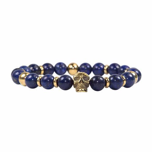 Macawi - modern lapis lazuli beaded skull bracelet stainless steel gold