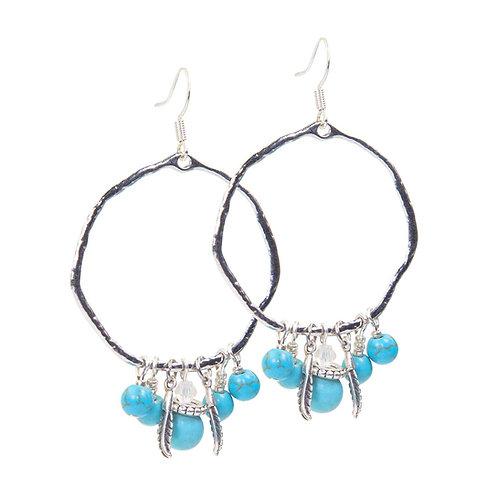 Tadewi - Boho Hippie blue Creoles Earrings