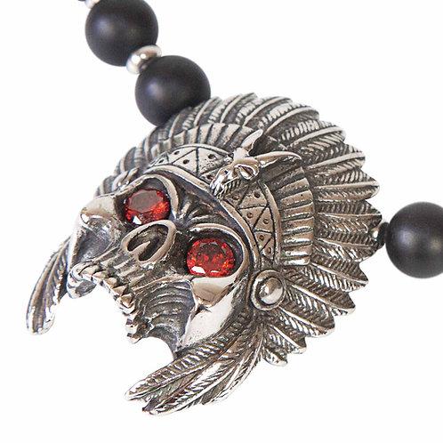 Indian Skull - Collar con calavera indio de acero inoxidable y ónix