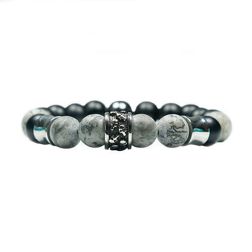 Fourteen - Pulsera con anillo del cráneo (acero inoxidable) y jaspe (gris)