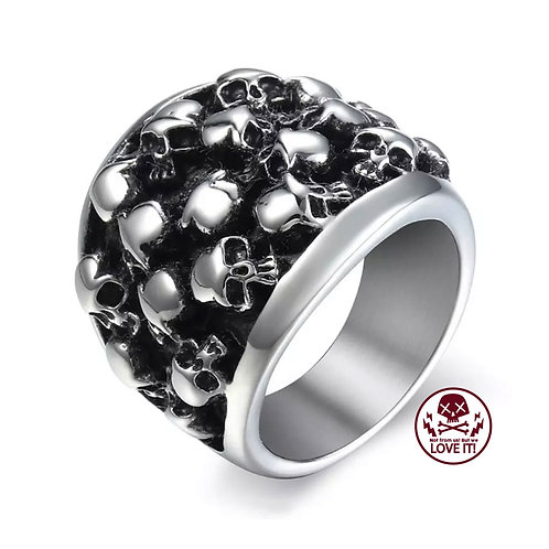 Punk V - Skull stainless steel ring