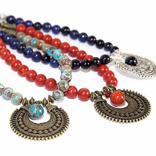 Sitara - Collar de Bohemia con semipreciosas en 3 colores diferentes