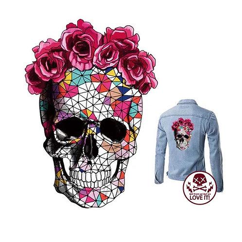 Rosen Skull - Parche para planchar - Calavera con rosas