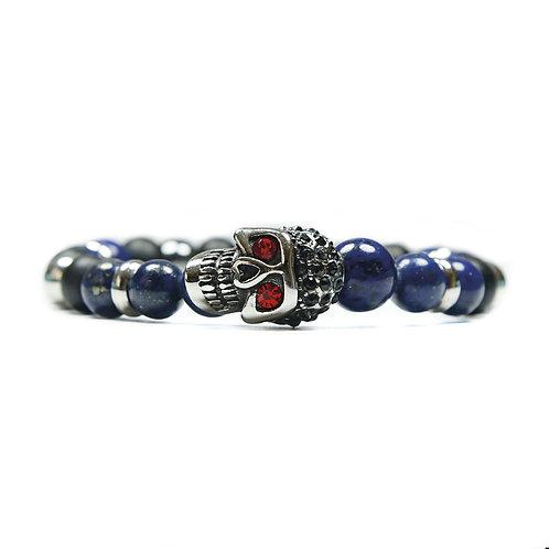 Phoenix - Pulsera con calavera de acero inoxidable y semipreciosas de ónix y lapis lazuli