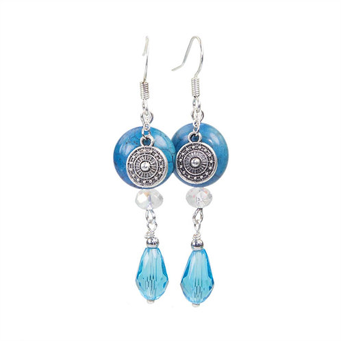 Yoki - Boho Hippie Stud Earrings Blue