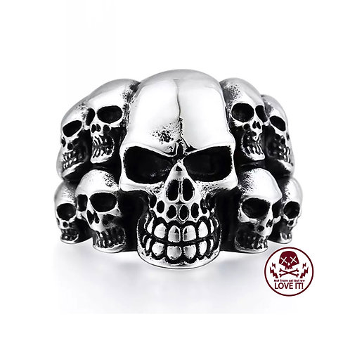 Punk III - Skull stainless steel ring