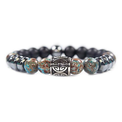 Si Fu - Unisex beaded Bracelet Chinese good luck symbol, blue Agate