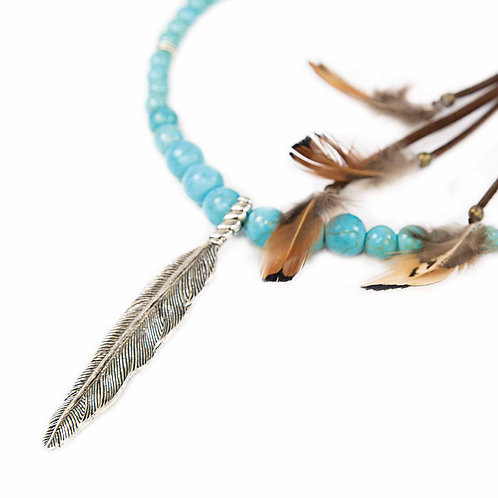 Luyu - Ethno Indian Spirit Feather beaded Necklace