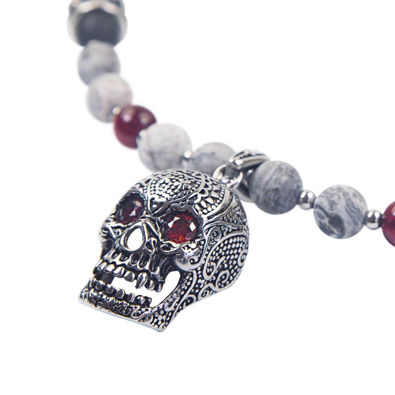 Perlenkette  Elegant Männer Frauen Schädel Totenkopf Biker Weiß LorenciK-Design