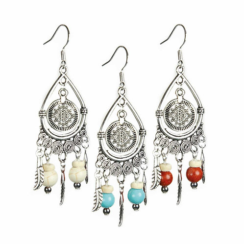 Naapi - Boho Hippie Feather Earrings