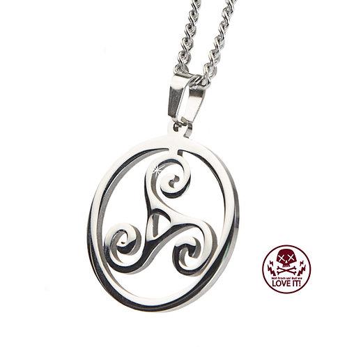 Triskele - Símbolo celta Collar de acero inoxidable