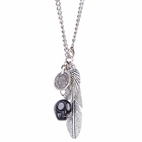 Elu - Collar de acero inoxidable con colgantes de calavera, pluma, ala y una moneda