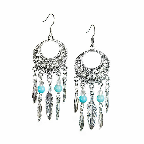 Niyaha - Boho Hippie Feather Earrings Indian Spirit