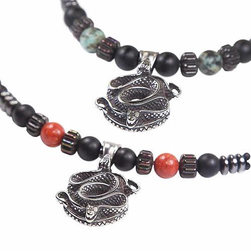 Snake - Snake medallion beaded necklace stainless steel