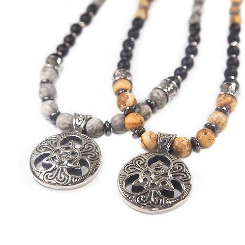 Triqueta - Herren Amulett Halskette Perlenkette Trinity Knoten