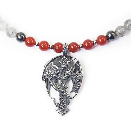 Dragon Cross - Dragón collar de perlas con un colgante de cruz