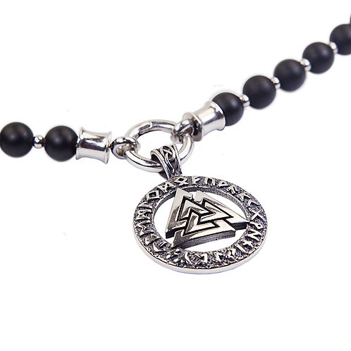 Odin - Valknut Triqueta pearl necklace stainless steel interchangeable necklace