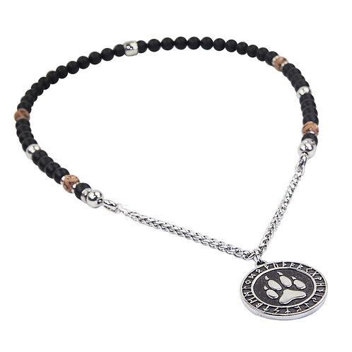 Lobo - Wolfstatze Perlenkette Runen Wikinger Edelstahl Wolf
