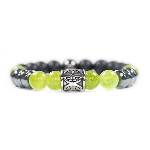 Si Fu - Unisex beaded Bracelet Chinese good luck symbol, green Agate