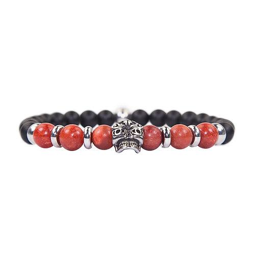 Maori - Pulsera de perlas de coral y con calavera de acero inoxidable - Pulsera combinada