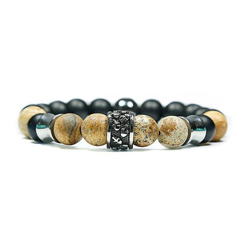 Fourteen - Jasper (Sand) Skull Pearl Bracelet