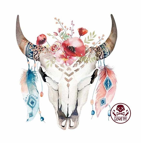 Bull - Trendy Boho cow skull iron-on patch
