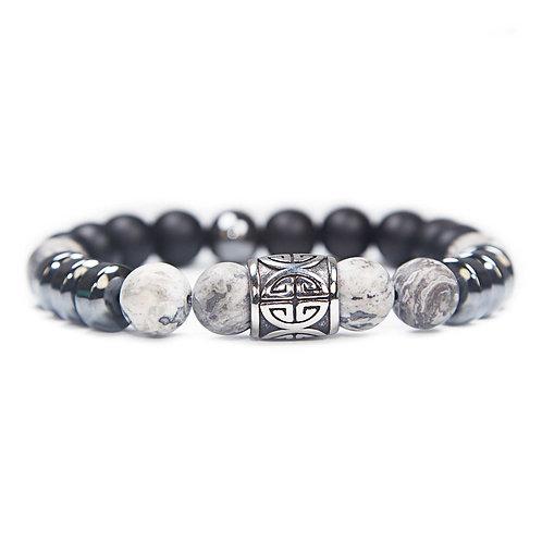 Si Fu - Unisex beaded Bracelet Chinese good luck symbol, Jasper