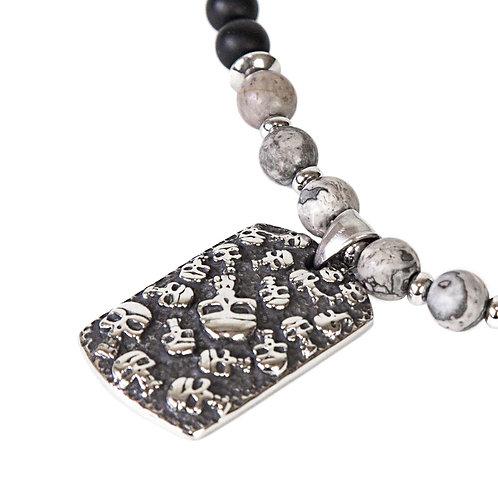 TAG - Collar con placa de identificación (con calaveras), ónix y jaspe