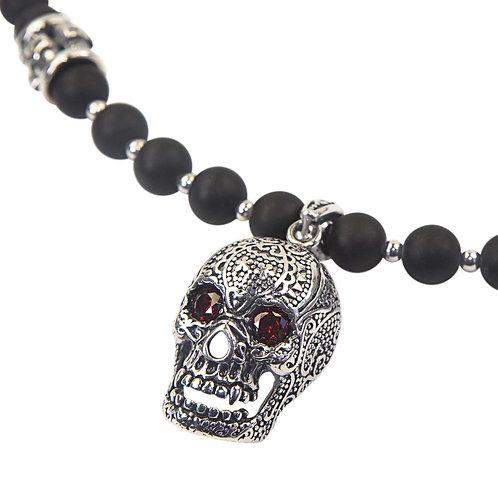 Demon Ónix - Collar de calaveras collar de perlas para hombres
