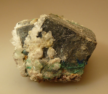 Galena, Quartz, Brochantite, Linarite