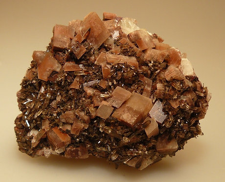 Quartz, Calcite, Hematite, Allanite-(Ce), Tourmaline