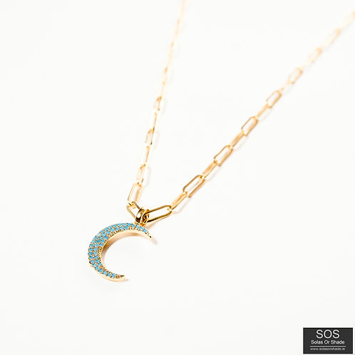 Blue Crescent Moon Pendant Necklace