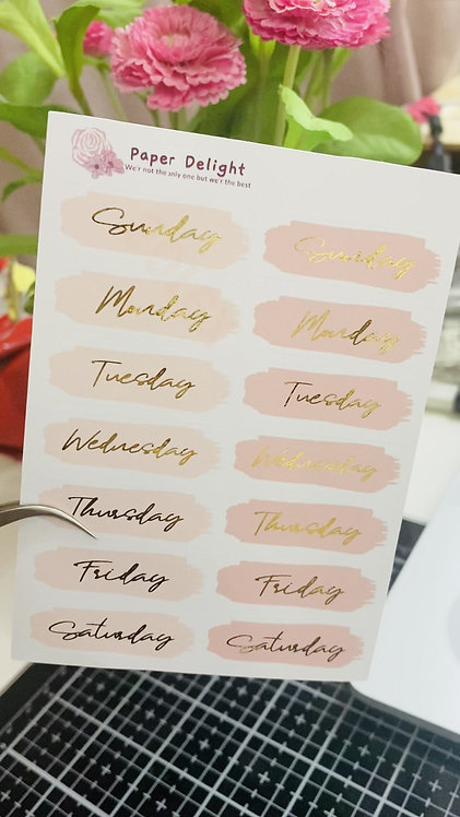 Foiled Weeks Sticker English